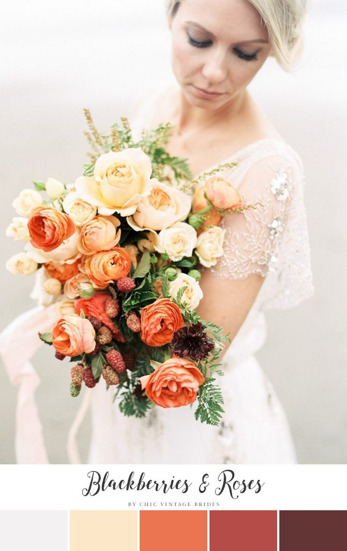 Blackberries & Roses Fall Wedding Color Palette    Fall Wedding Ideas…