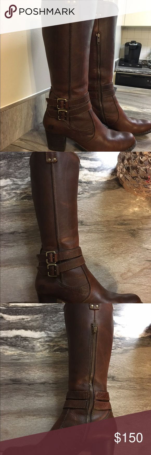 Women's size 8 trendy brown heeled boots Women's low-heeled boots.  Worn once.  They are too big for me, otherwise I would keep them.  The brand is Clarks, and they have a cushioned sole, with very thick and sturdy 100% leather.  These originally sold for $300. Clarks Shoes Heeled Boots