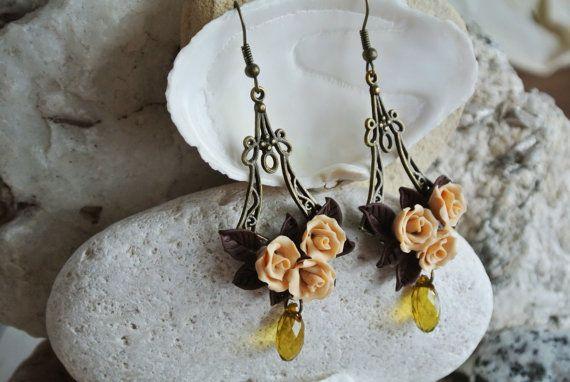 Beige earrings Rose flower polymer clay by LandOfJewellery on Etsy, $28.00