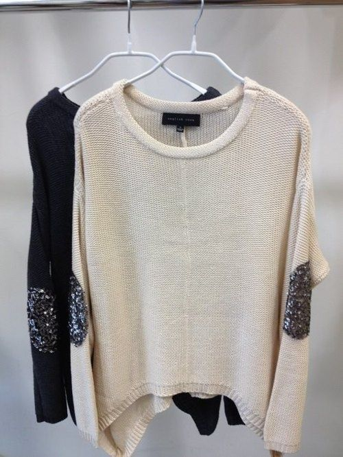 Loose, baggy sweaters with gunmetal sequin elbow pads!
