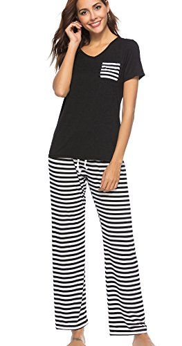 4a7efcbb0 Etosell Womens 2 Piece Pajama Set Short Sleeve Top with Striped Pants  Lounge Sleepwear Set