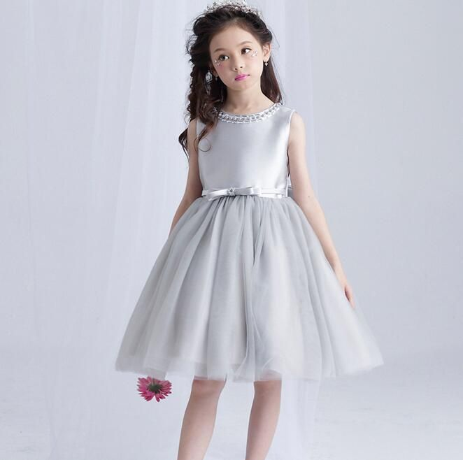 2017 Summer Girl Dress Silver Tulle Flower Girl Wedding Dress Beaded Evening Party Dresses For Teenager Girl Birthday Clothes #Affiliate