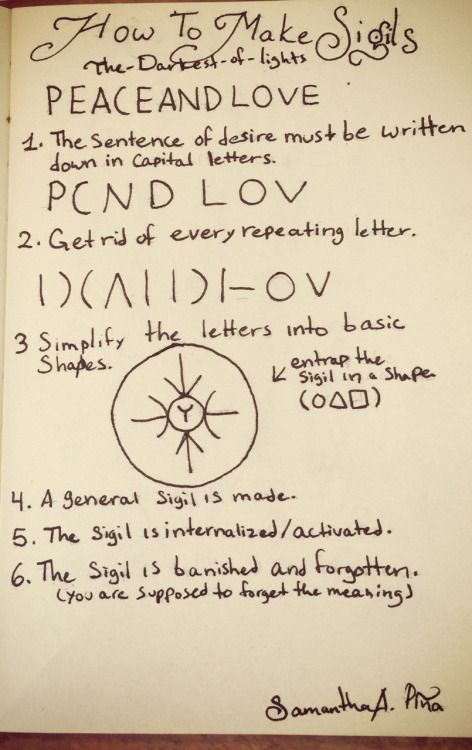 How to make sigils a sigil is a symbol that you make that acts as like a spell and helps you achieve a goal. • You have to make a sentence of your desire in capital letters. • You get rid of every repeating letter. • Then you simplify the letters...