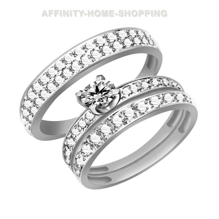 round natural diamond accents 10k solid white gold trio wedding ring set - Trio Wedding Ring Sets