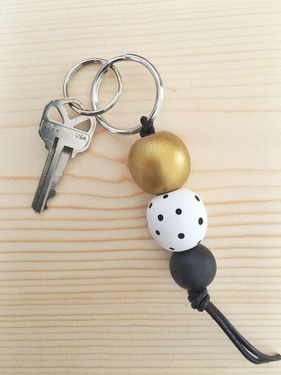 Painted wooden beaded keychain