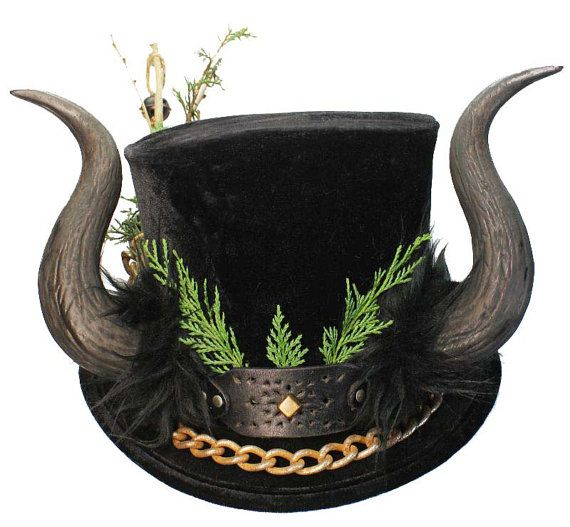 Krampus Tall Black Top Hat Demon Horns Gothic by JenkittysCloset