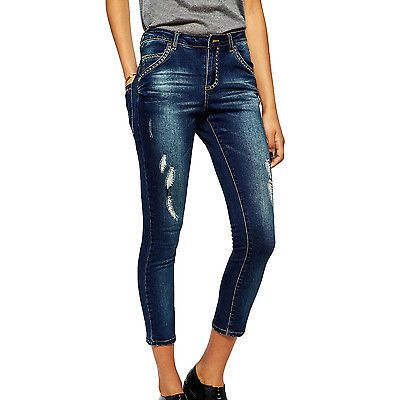 Rock & Religion Womens Cropped Skinny Jeans Ankle Grazer Denim Trousers