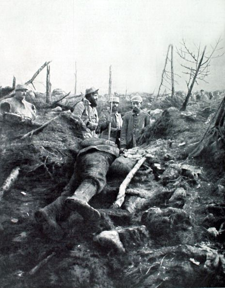 WW1. France, Eparges, a living German soldier found amongst the dead in what…