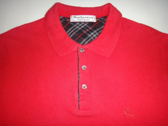 Vintage BURBERRYS Long Sleeve Made In England Polo T Shirt