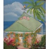 """""""Dreaming of a Pink Cottage"""" Ronni Harris - Artist Original Quilted Painting on Cotton 11"""" X 10""""  $175.00 - See more at: http://gallerystthomas.com/art-medium/acrylic-paintings/dreaming-of-a-pink-cottage.html#sthash.LhFvrsLw.dpuf"""