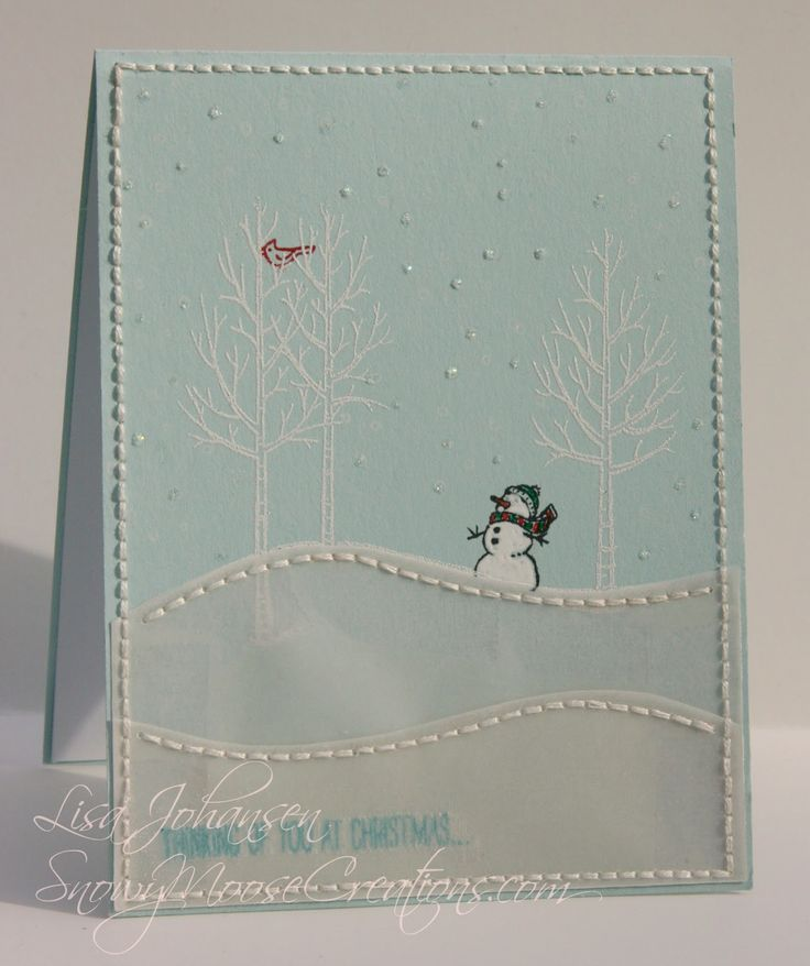 FM178 Stampin Up White Christmas Snowy Moose Creations: Vellum Stitches for Friday Mashup