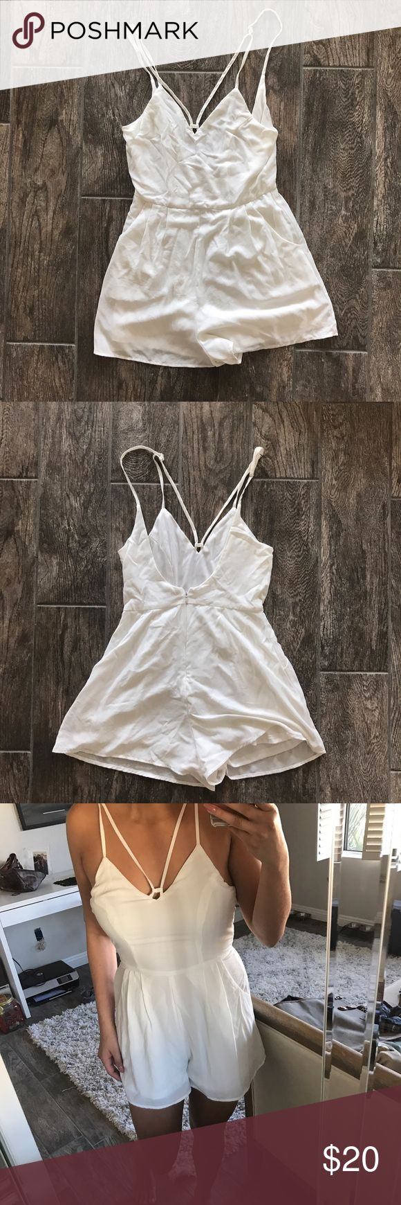 White Romper ****NOT SABO SKIRT JUST USED FOR EXPOSURE***  Super cute white Romper that's perfect for a festival or vacation! It has extra lining under so you can wear nude undergarments and not worry about it being see through. Extremely flattering and looks best with a denim jacket around the waist. Bought from a boutique in Newport Beach, CA.  Size: Small  🌸Please note that I am not interested in trading at this time🌸 Sabo Skirt Dresses