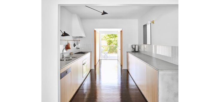 Monash Rd House, Tarragindi, Zuzana&Nicholas Architects, Brisbane House Renovation, Kitchen and Bathroom, Concrete Benchtops, Timber Cabinetry, Serge Mouille lighting