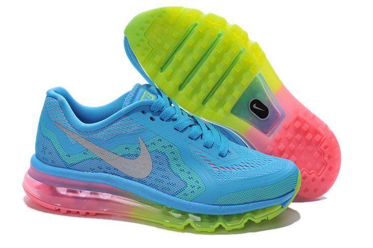 Cheap Nike Air Max 2014 Sky Blue Fluorescence Green Women's Running Shoes #blue #shoes