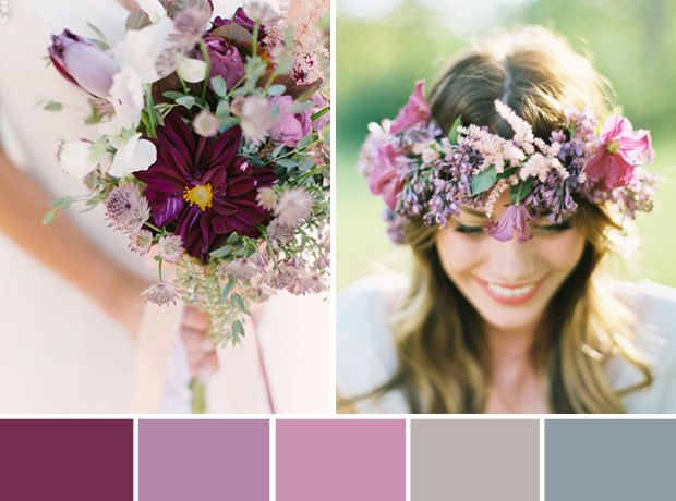We are in love with this wedding colour scheme, which includes Pantone's 2014 Colour of the Year: #RadiantOrchid.