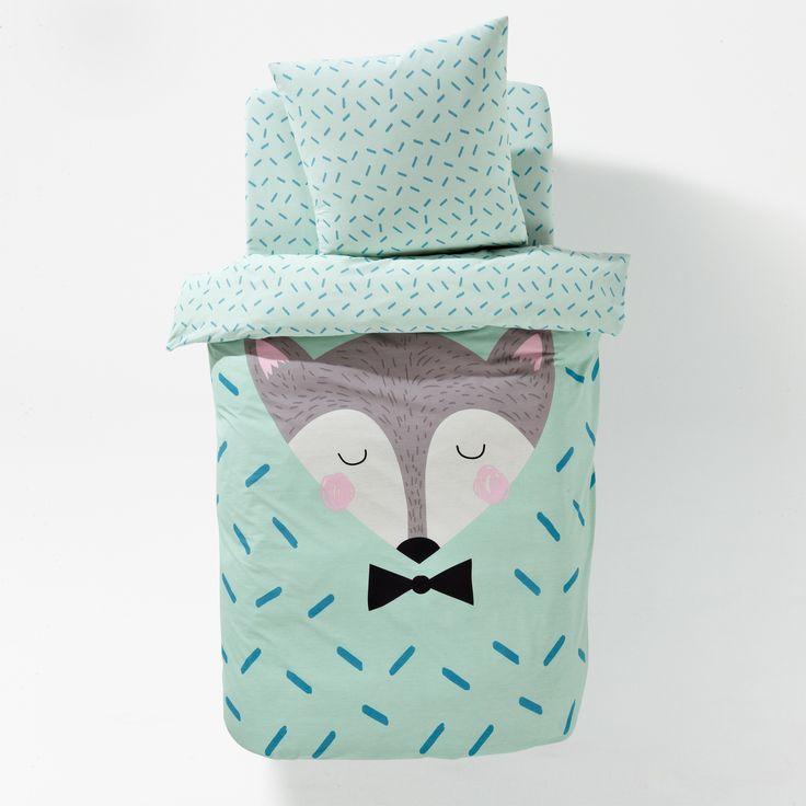 linge de lit imprim sleepy fox housse de couette enfant couette enfant et housses de couette. Black Bedroom Furniture Sets. Home Design Ideas