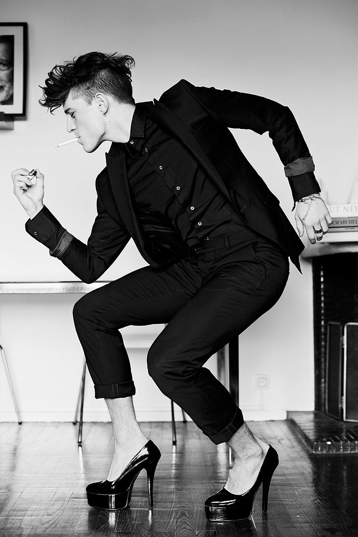 David Prat by Sylvain Norget.      A man in heels. What does this mean about his gender? His sexuality? Or does it mean anything?   By Alexander Muzio