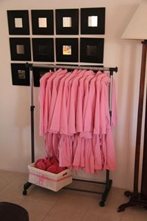 Robes and slippers for pamper party.