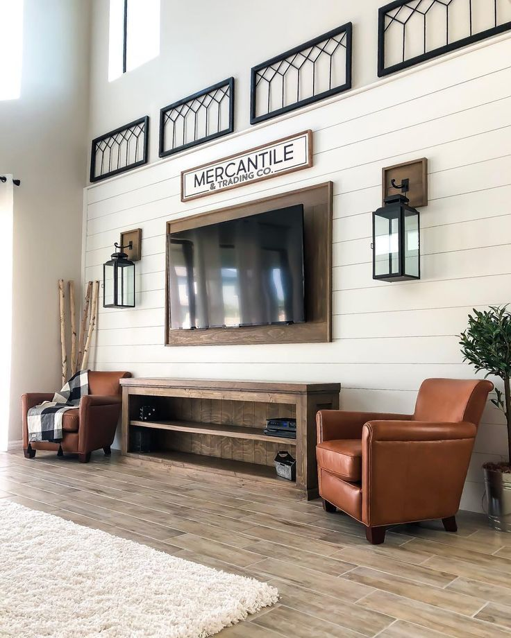Wood Mount Trim Behind Tv On Accent Shiplap Wall Accent Mount Shiplap Shiplap Tri Shiplap Living Room Farm House Living Room Accent Walls In Living Room