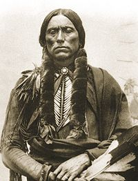 RED RIVER WAR OF 1874 - Comanche Chief Quanah Parker. With Indian prophet Isa-tai, he led some 300 Indians in an attack on buffalo hunters in the Adobe Walls post.