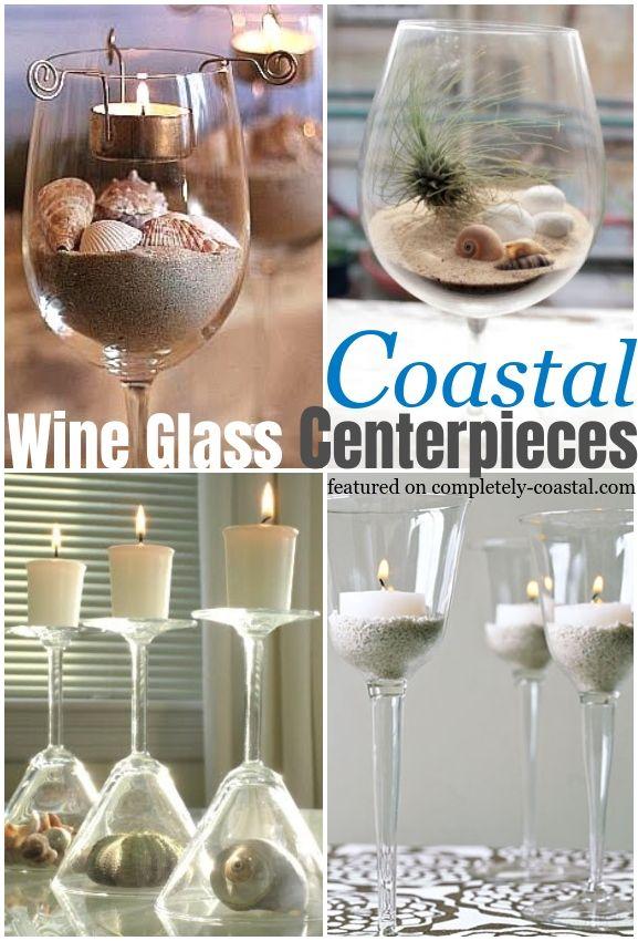 Wine Glasses Candle Holders Beach Terrariums In 2020 Wine Glass Centerpieces Wine Glass Crafts Centerpieces With Wine Glasses