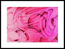 Woman In Pink - Psychedelic Lady Framed Print by Simon Knott