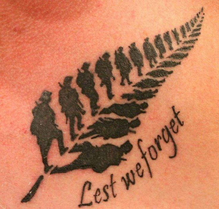 "Feather Made of Soldiers and ""Lest we forget"" Tattoo"