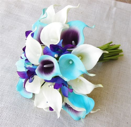 Natural Touch Turquoise, Blue Tiffany Calla Lilies & Orchids Bouquet