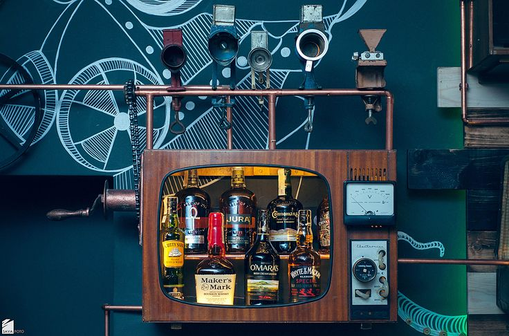 TV and drinks Steampunk Joben Bistro Pub Inspired by Jules Verne's Fictional Stories