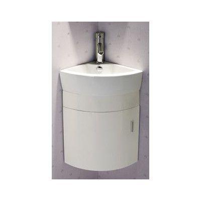 "Elanti 17.5"" Single Melamine Wall Hung Corner Bathroom Vanity Set"