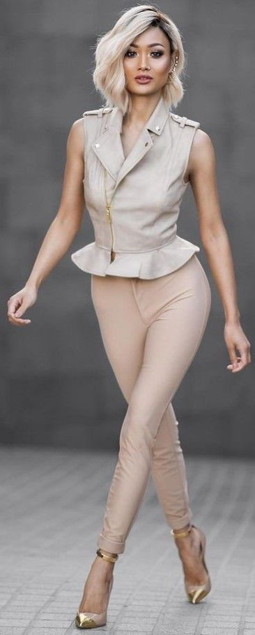 #Street #Fashion | Nude Leather Peplum Leather Vest + Blush Leather Pants + Nude And Gold Pumps | Micah Gianneli
