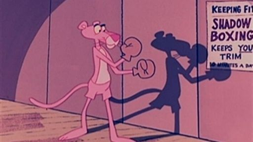 Still from the Pink Panther cartoon 'In the Pink' (1967) featuring the Pink Panther practicing Boxing