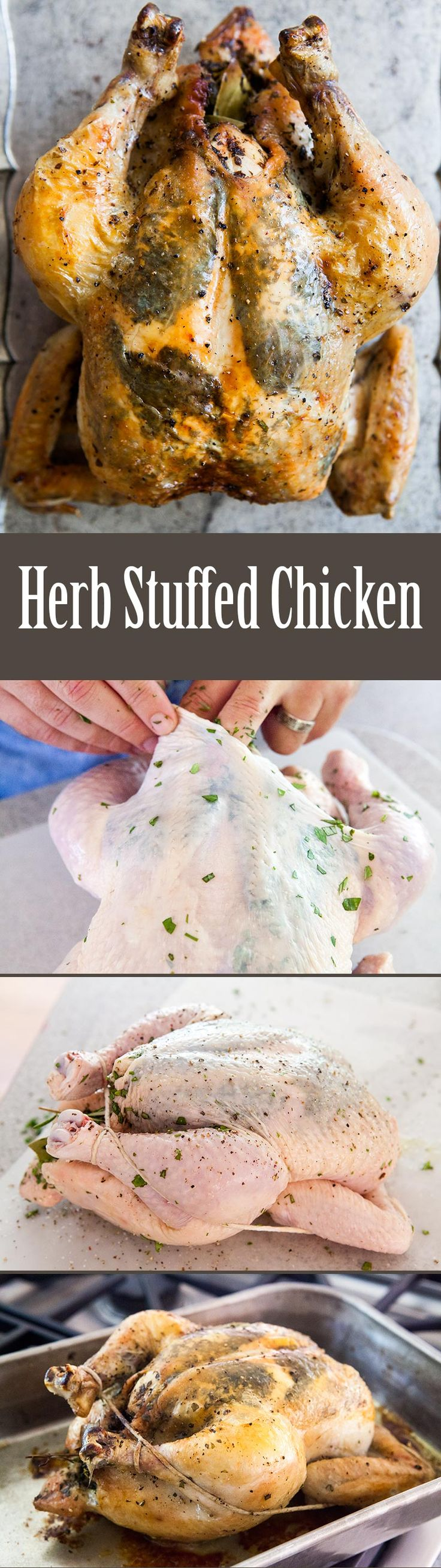 Herb Stuffed Roast Chicken ~ Whole roasted chicken, infused with fresh herbs - parsley, basil, thyme, oregano. ~ SimplyRecipes.com