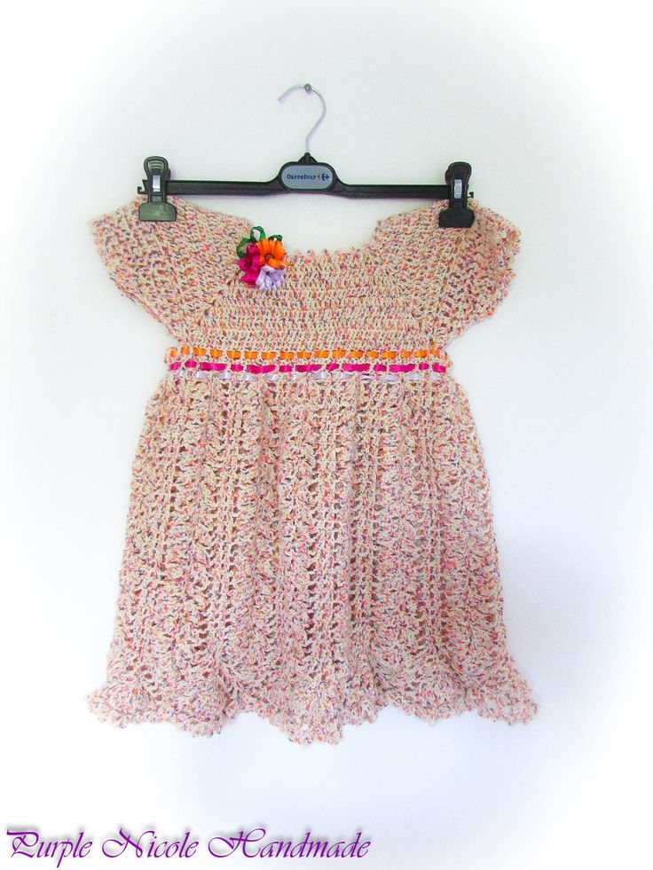 Princess - Handmade Crochet beautiful pastel colored little girl dress by Purple Nicole (Nicole Cea Mov). Materials: soft pink color mix, decorated with satin ribbon flowers