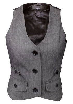 Ladies Fitted Grey Herringbone Tweed Waistcoat Formal or Casual Tailored Top NEW