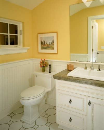 Beadboard Over Tile In Bathroom: Bathroom: Yellow Walls, White Beadboard