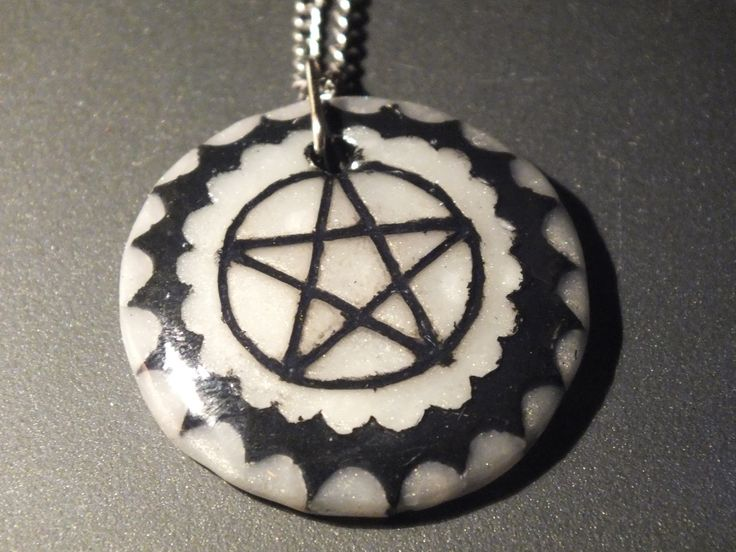 pentagram pendant necklace with polymer clay