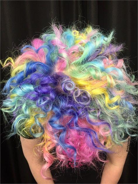 TRANSFORMATION: Rainbow Curls to Aurora Borealis Galaxy Hair Color - Hair Color - Modern Salon