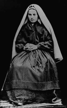 St. Bernadette - Was born at Lourdes, France. One Thursday, February 11, 1858, when she was sent with her younger sister and a friend to gather firewood, a very beautiful Lady appeared to her above a rose bush in a grotto called Massabielle. She told Bernadette that she should prah for sinners, do pennance, and have a chapel built there in her honor. (One of my favorite stories, and Saint.)
