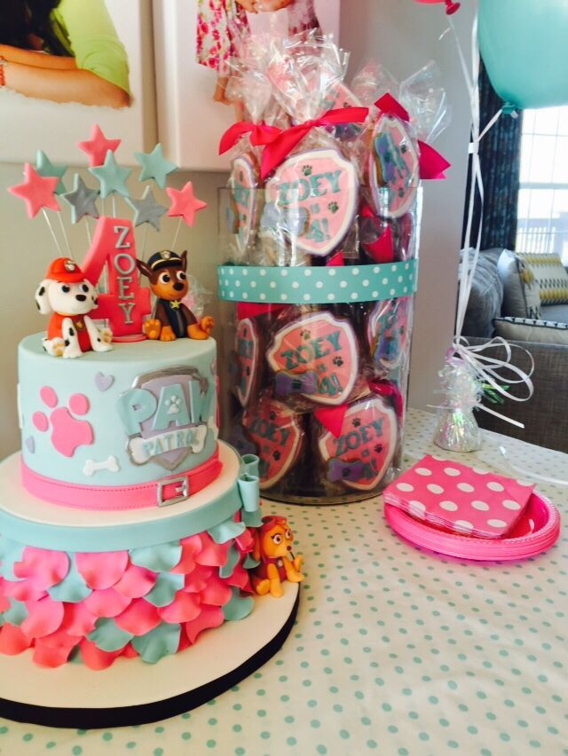 PAW Patrol birthday party ideas for your little girl. Love the pink and teal color combo.