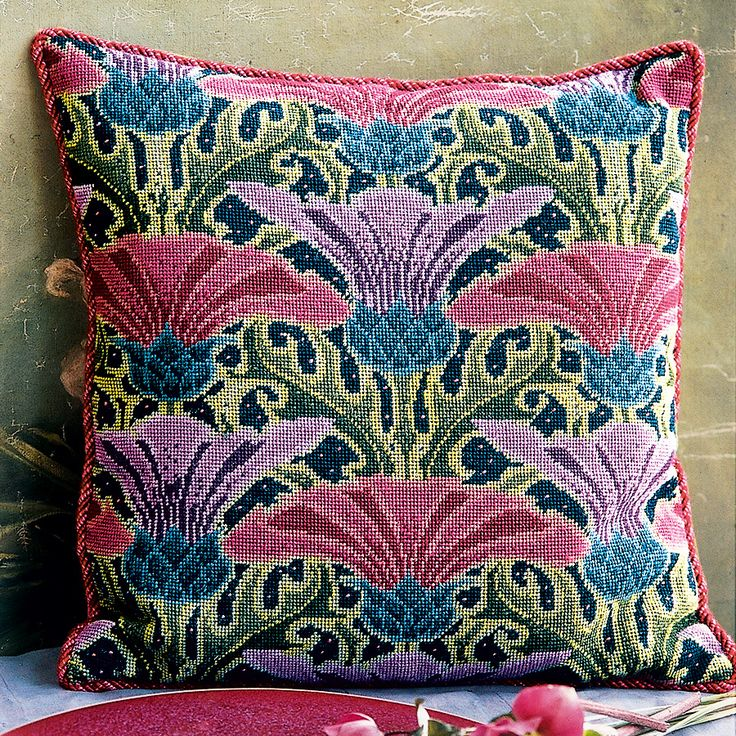 "Thistles Cushion - Ehrman Tapestry By Raymond Honeyman. 17"" x 16.5"". 43 cm x 42 cm. 12 holes to the inch. Ehrman wools. Included in the Kit The kits include a 100% cotton canvas printed in full colour, all the yarns required (100% pure new wool), a needle and an easy to follow guide to get you underway."