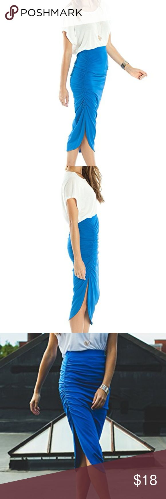 Asymmetrical Skirt by Ariana James, Blue Sz Small Experience versatility in this skirt as you go from a day at the office, to a night out on the town. Sexy and sophisticated: the Marina skirt features a side slit and delicate rouching, creating a flattering asymmetrical shape for an elongating effect. The soft cotton and stretchy elastic waistband accentuates figures and add an undeniable sense of comfort making this a multifaceted must-have addition to your wardrobe!   SIZING & FIT…