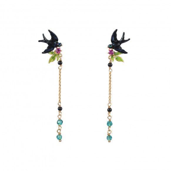 Boucles d'oreilles hirondelle, chaîne et petites perles, bijoux fantaisie Paris