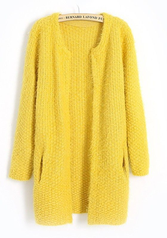 Yellow Plain Round Neck Wool Blend Cardigan