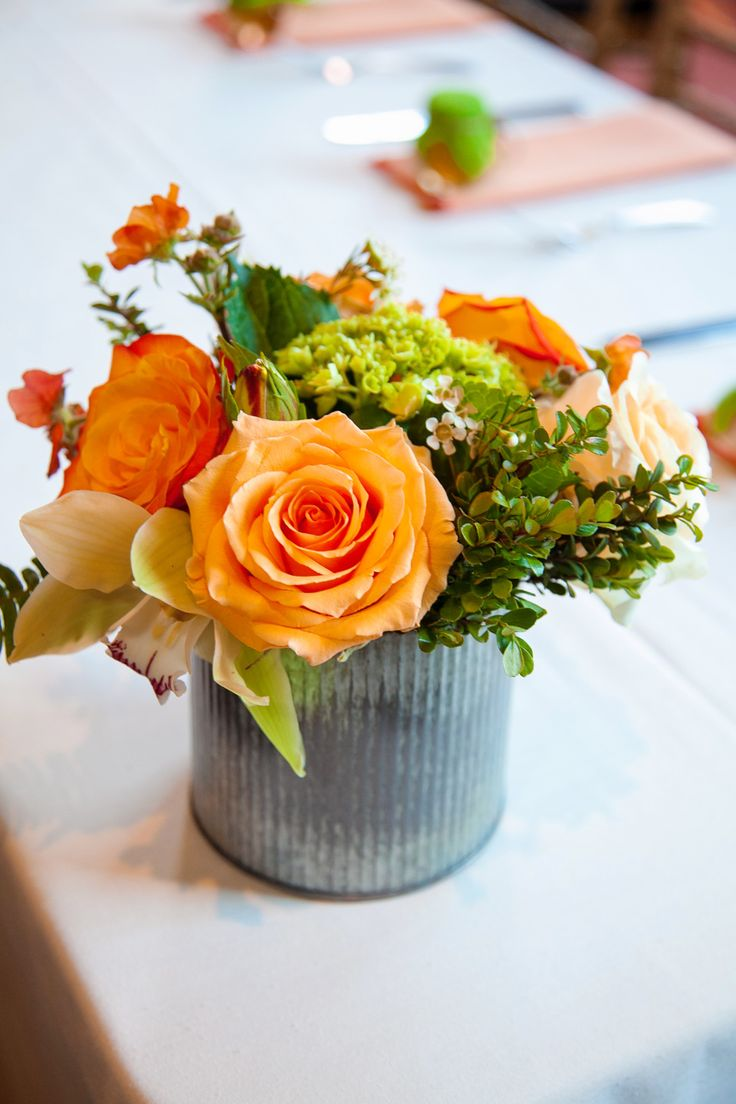 Images about orange and green flower centerpieces on
