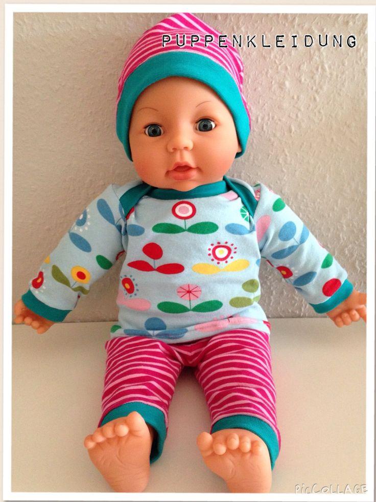 Selbst genäht - Puppenkleidung für Puppe 46 cm - Oberteil nach Schnabelinas Regenbogenbody in Gr. 46 - Mütze und Hose in Gr. 50 nach Babyset von Charlotte Wunschkind