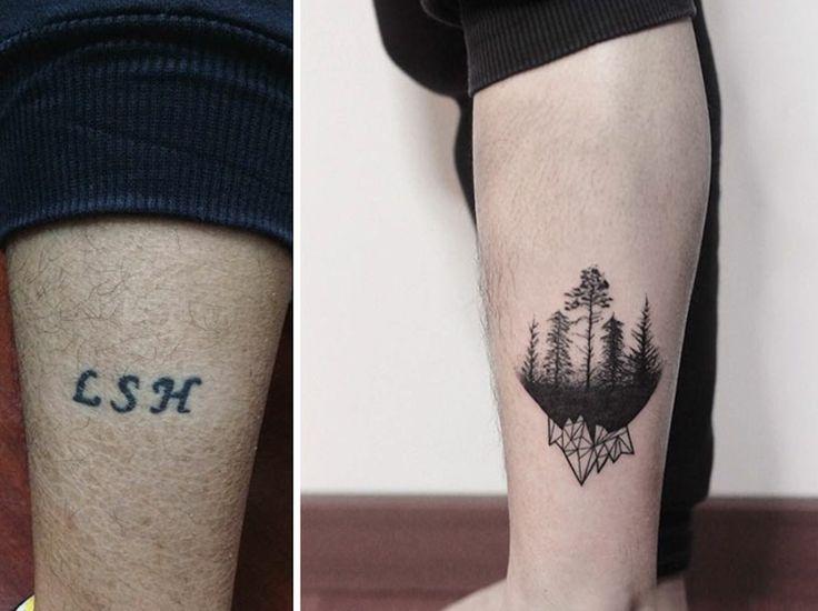 Cover up Tattoo Mann Unterarm klein originell
