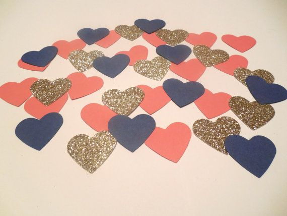Navy Blue Coral Glitter Gold Heart Confetti Nautical Confetti Nautical Bridal Shower Navy and Coral Wedding Navy and Coral Bridal