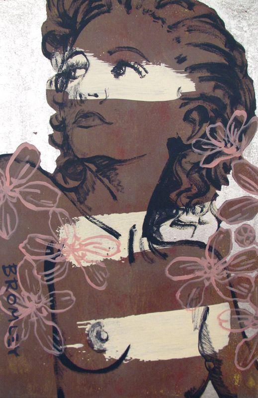 David Bromley.    Hillary. Acrylic and silver leaf on canvas