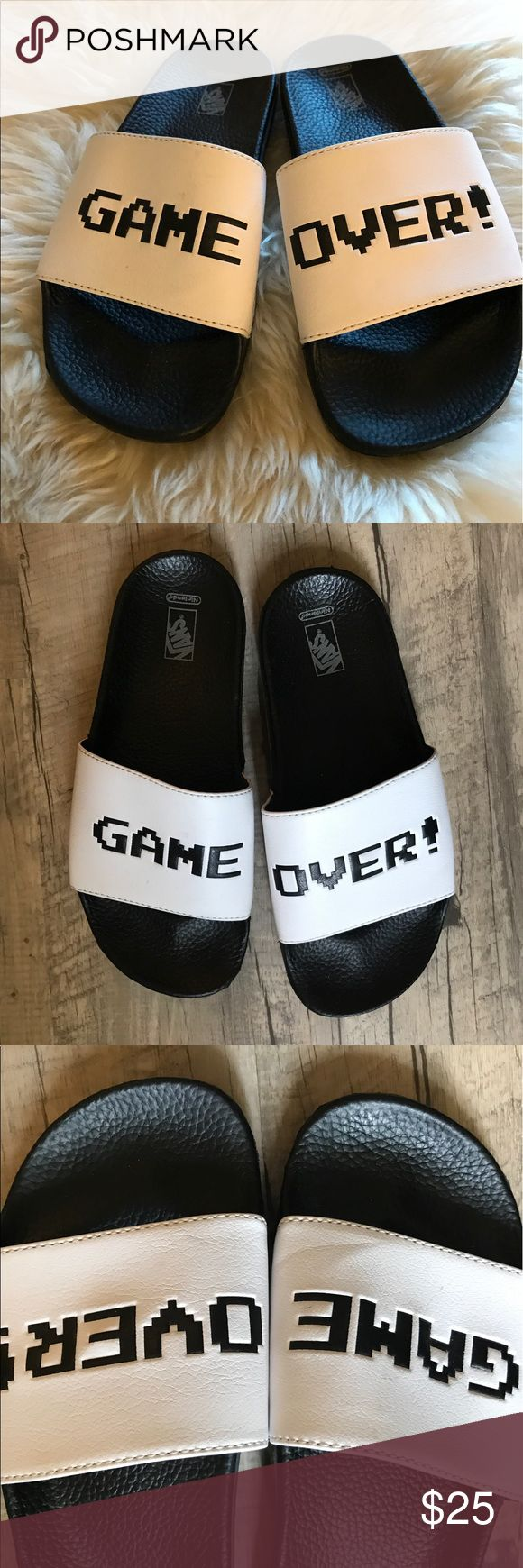 •GAME OVER - Vans/ NINTENDO Collection Slip Ons• •Rubber sole and synthetic leather upper• in almost new condition, worn once or twice but they were just too wide for my feet• tagged as a size 7- may fit a wide foot that is 7.5-8 better• TAGS- #slipon #athletic #goth #unique #Nintendo # Vans Shoes Sandals